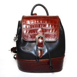 Brighton Vintage Two Tone Leather Backpack Handbag
